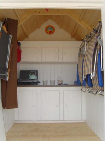 Beach hut interior on pinterest shepherds hut beach for Beach hut decoration ideas